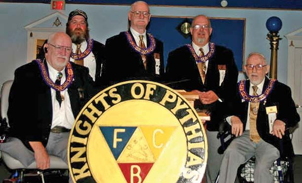 """Knights of Pythias members (from left to right) Don Appleton, Kenneth Thornton, Richard Blankenmier, Keith Almand and Bernard """"Red"""" Hollander."""