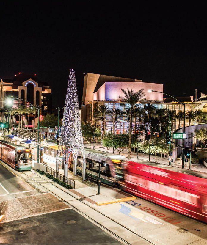 Light Rail-Mesa Arts Center-Downtown Mesa at Night Time Credit Ivan Martinez-d087fe66