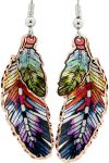 Colorful Copper Feather Earrings